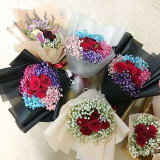 Valentines Day Bouquet of Roses and Baby Breath