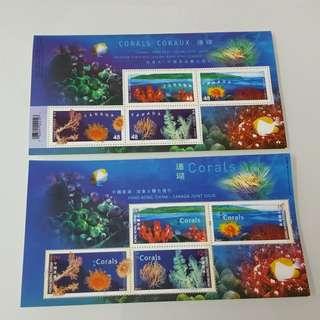 2002年珊瑚(與加拿大聯合發行)小全張(一套2張)