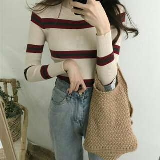 [2 COLOURS!] KNIT STRIPES TOP