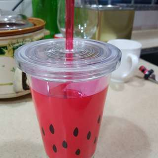 NEW watermelon plastic cup with straw