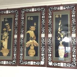 Antique vintage rosewood wall plaque decoration