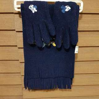 Authentic Mickey scarf and Gloves set