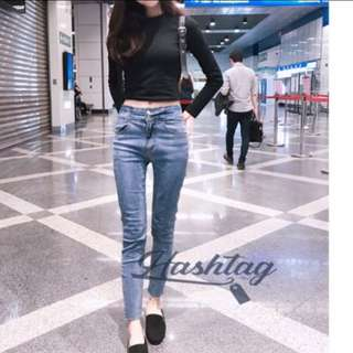 🚚 轉賣 韓版 顯瘦高腰彈性牛仔褲