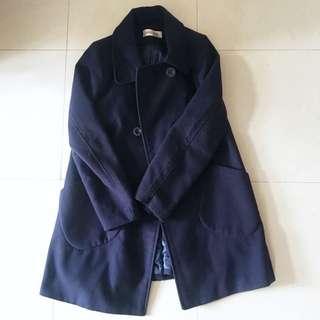清貨價🔥深藍保暖大衣navy blue coat