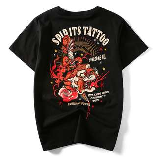 Japanese Spirits Tattoo Black Tee Shirt