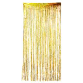 Tinsel Backdrop Curtain Holographic Gold
