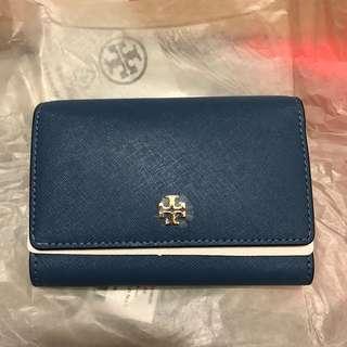 Tory Burch 銀包 wallet leather Wallis blue正品