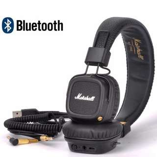 Genuine Marshall Major II Bluetooth Wireless On-Ear Headphones Brown and Black
