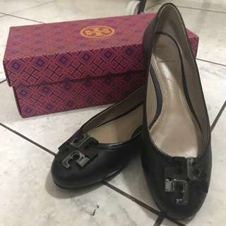 Tory Burch Lowell Leather Logo Ballerina Flat, Black