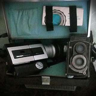 Vintage Camera And Video Camera Set.