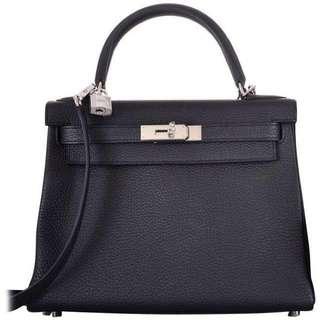 BNIB Hermès Kelly 28 Noir (Black) Togo PHW