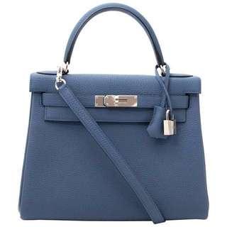 BNIB Hermès Kelly 28 Bleu Agate Togo PHW