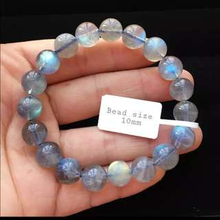 Very nice AAAAA Labradorite bracelet. Size 10mm x 19 beads. Very clear shin and icy beads.