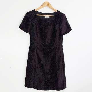 Italy Vintage Style Black Lace Short-Sleeve Dress