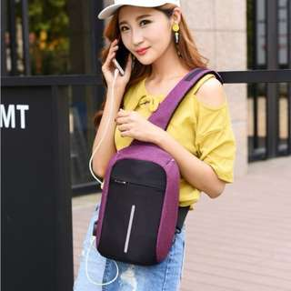 USB Anti-Theft Anti Theft Sling Crossbody Bag Backpack