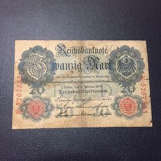 豹子號1914年20馬克已經有一百年歷史 圖案十分精美中品-下品