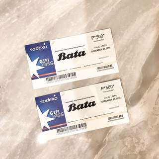 BATA GIFT CERTIFICATES WORTH P1000