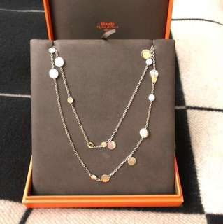 HERMES Confettis long necklace (sliver and rose gold)