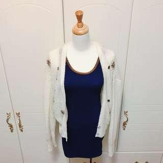🚚 歐美棉質金鏈寶藍洋裝