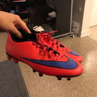 Nike Soccer Cleats - bright orange red with purple