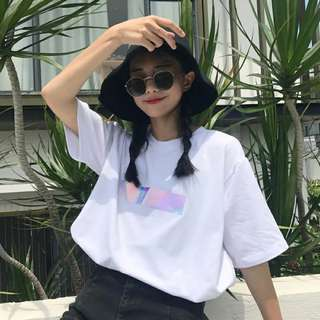 Holographic Striped Oversized Top - Preorder