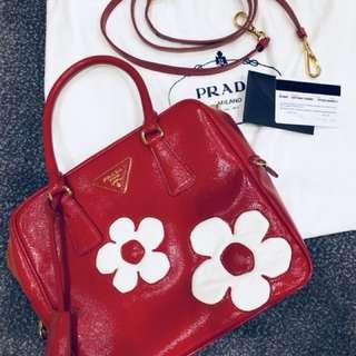 Prada hand bag red leather