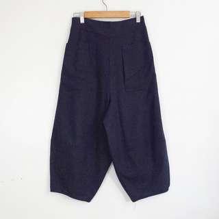 Korean Fashion Style Blue Front Pocket Culottes