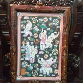 Late Qing ( Dong Chi ) Colorful Painting Porcelain Board大清年制江西粉彩瓷板童子戏春图