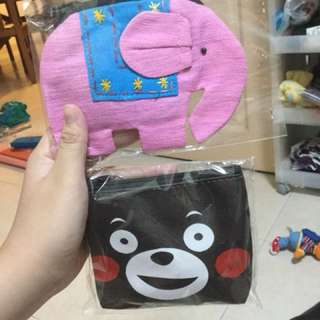 URGENT CLEARANCE: ELEPHANT POUCH AND BLACK BEAR POUCH