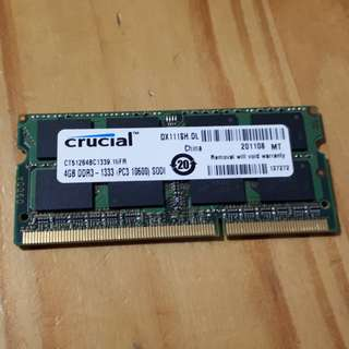 Crucial 4GB DDR3 Laptop Ram