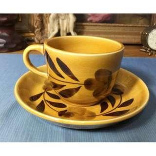 法國手繪瓷器 杯盤組 花茶杯盤