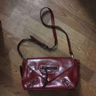 Balenciaga inspired red leather bag