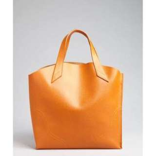Furla Jucca Shopper Tote - Mandarin Crosshatched Leather