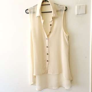 Sheer long sleeveless shirt S/M