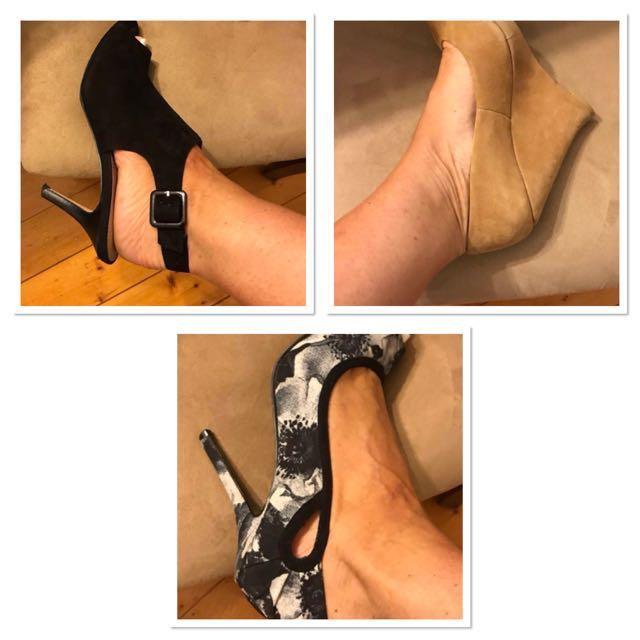 3x  HEELS: Wedges (suede) size 7, Nine West patterned high heels (peep toe) size 8, Sling back heels open toe (suede) size 7