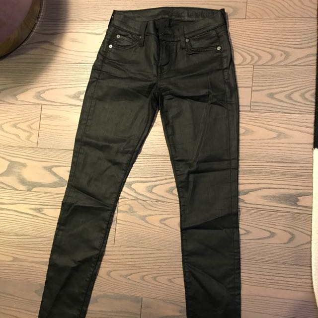7 for all mankind waxed leather look jeans