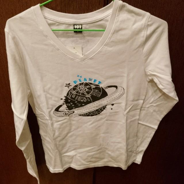 全新 101原創 純棉 V領長袖 白 T shirt