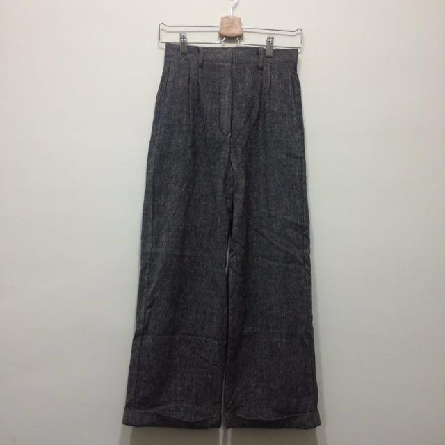 🌿古著深灰色雜訊毛料寬褲