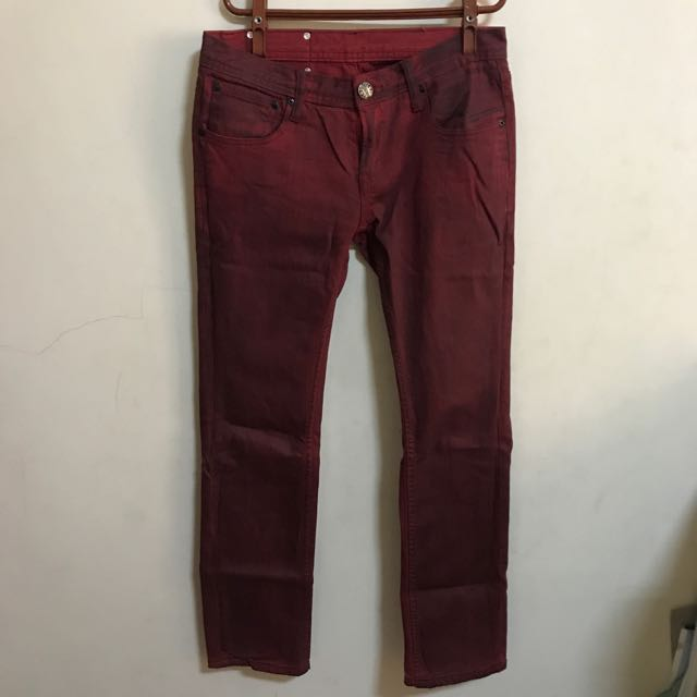 牛仔長褲/紅色/刷色/色褲/窄版
