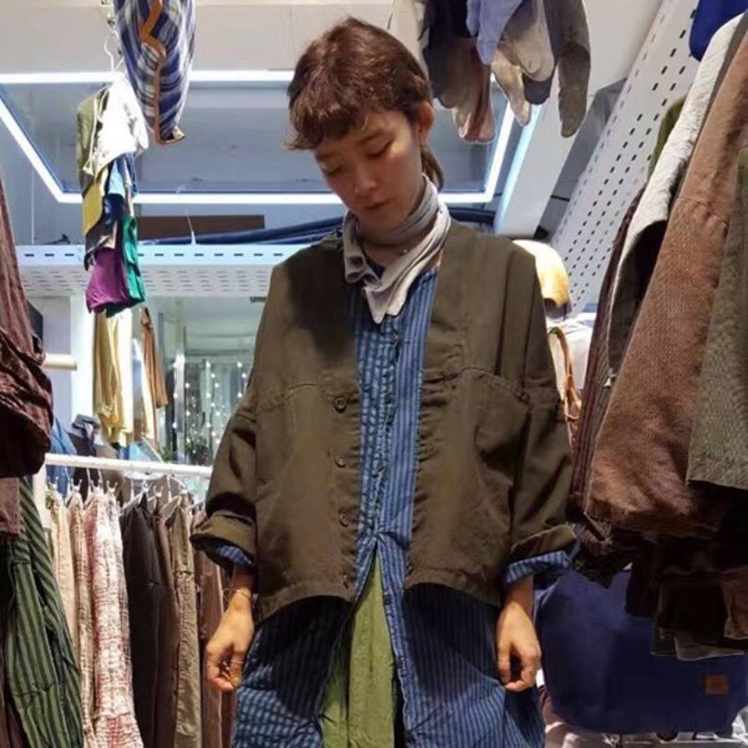韓國製!超推薦!一件很好穿的小和服式短版棉麻罩衫