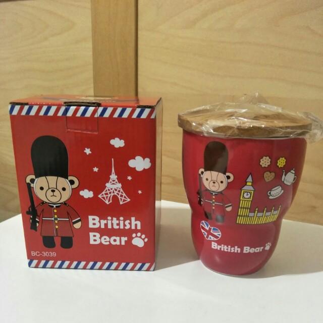 (全新)英國熊陶瓷馬克杯-附蓋