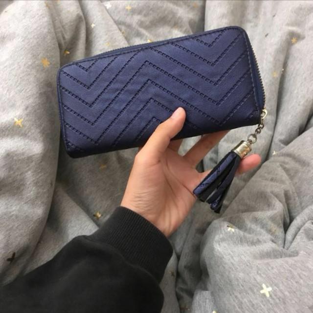 極新♥深藍壓紋流蘇皮夾