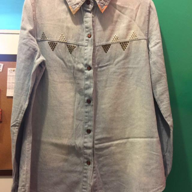 過年降價賣🌹丹寧卯釘襯衫外套