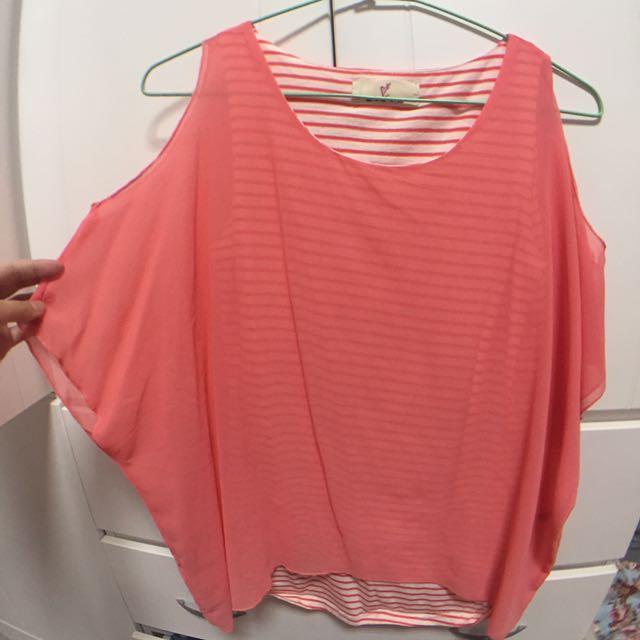 粉紅條紋無袖拼接兩件式
