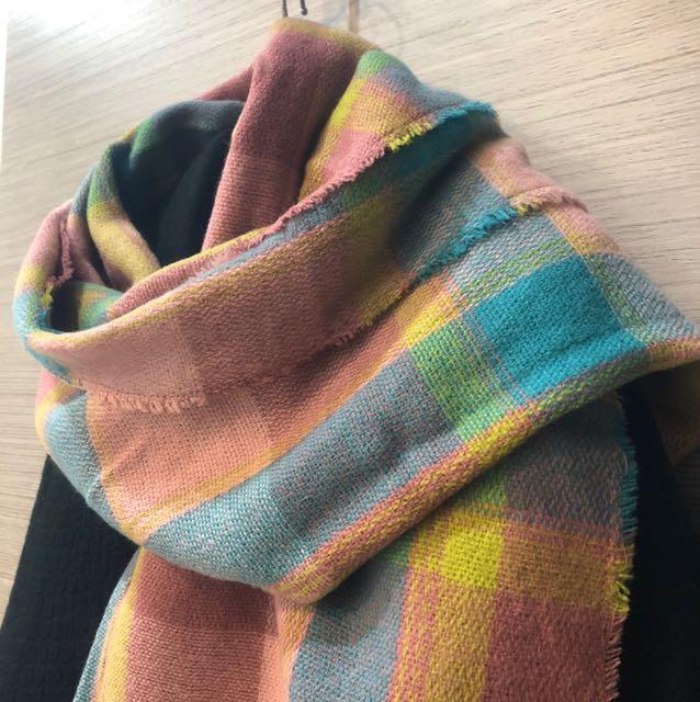 特價 粉嫩色系格紋類羊絨大披巾、大圍巾