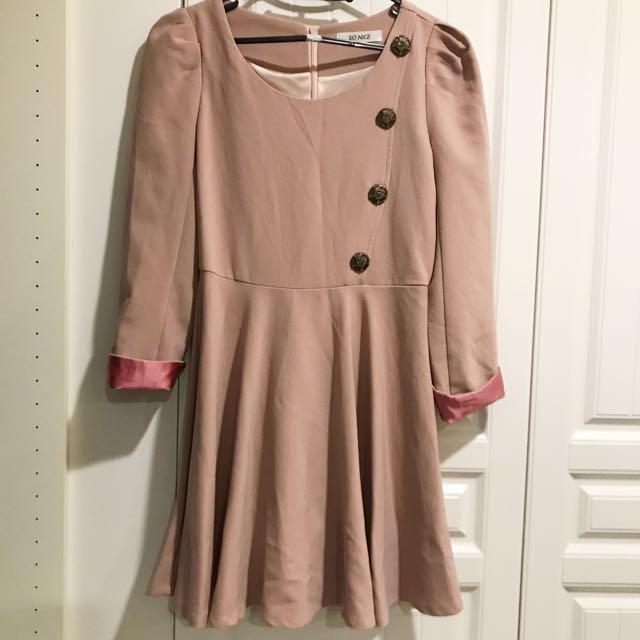 玫瑰粉 韓版洋裝