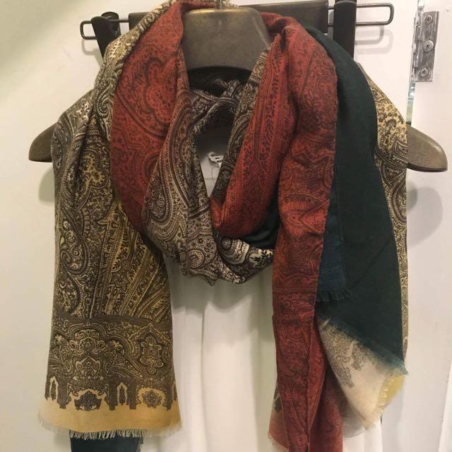 🈚️蝦皮🈚️換貨 全新 韓國棉質圖騰圍巾🧣
