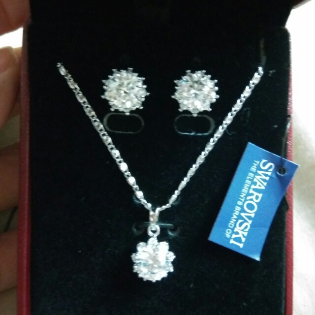 品牌 墜飾 項鍊 耳環 ♡三件組♡Jewelry 百貨公司 施華洛世奇