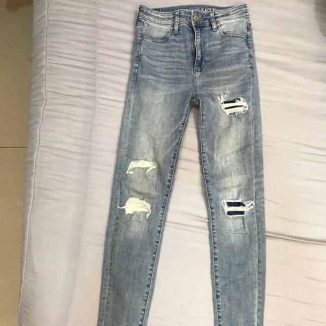 紐約購入 American Eagle 時尚 破損 破洞 牛仔褲