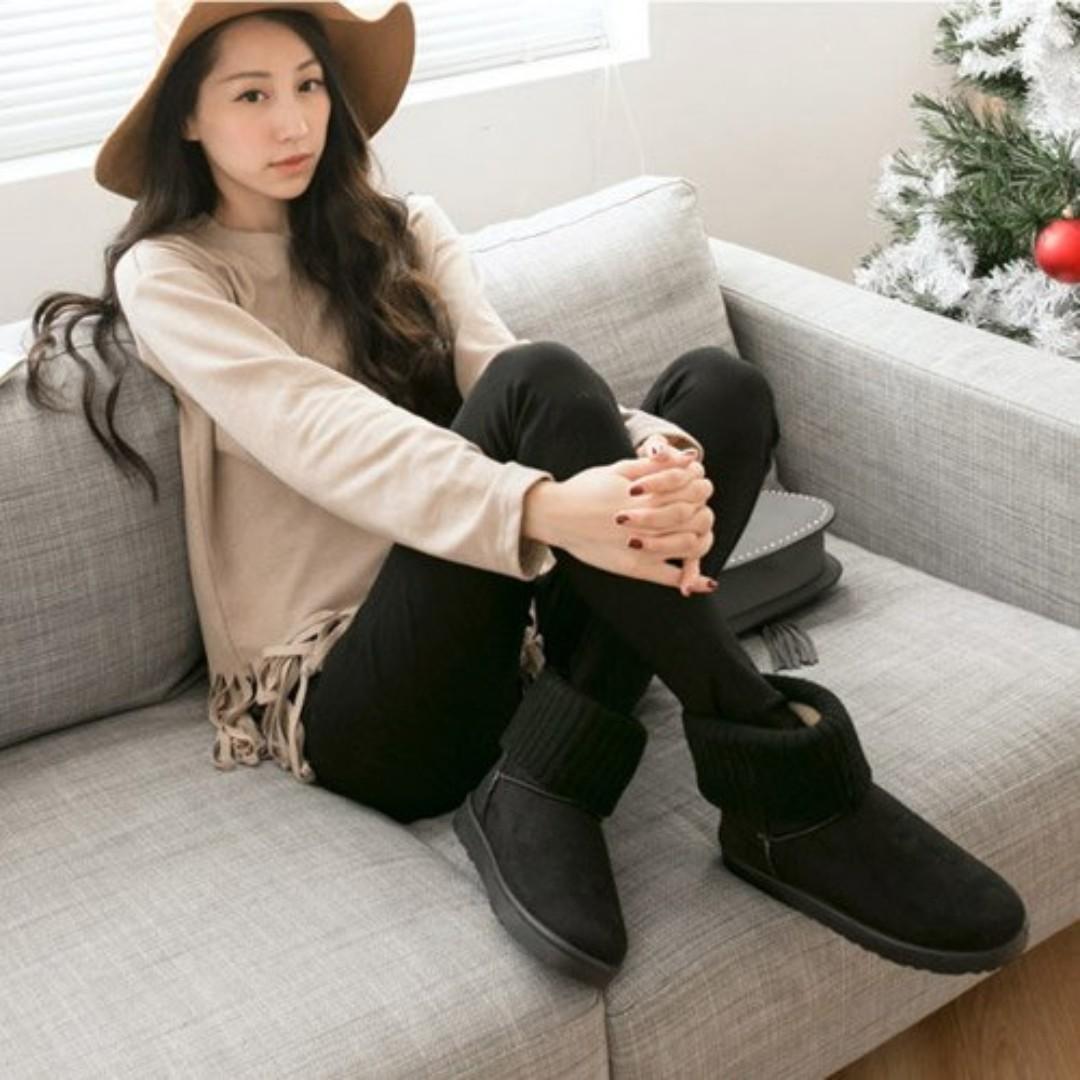 轉賣* FM 時尚美鞋 韓貨 甜蜜馬卡龍色系針織短筒雪靴 黑38